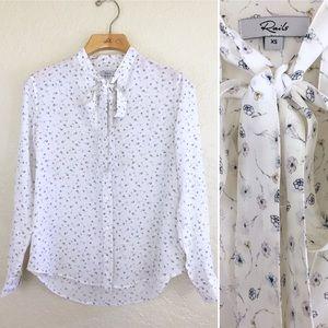 """Rails """"Colette"""" 100% Silk Floral Tie Neck Blouse"""